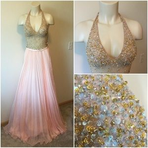 Jovani halter  Gown W/ Beaded BodicePleated Skirt